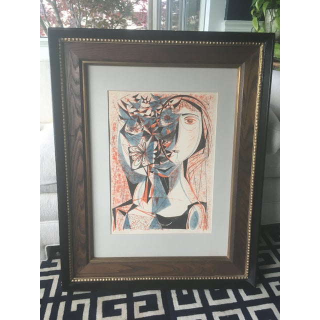 Vintage Mid-Century Richard Zoellner Abstract Woman Flower Lithograph Print For Sale - Image 11 of 13