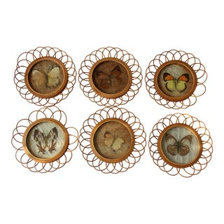 Vintage Coaster With Butterfly Motifs Made of Rattan Wood and Plastic - Set of 6 For Sale