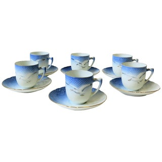 Midcentury Scandinavian Porcelain Coffee Espresso Demitasse Set For Sale