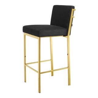 Gold Black Velvet Bar Stool | Eichholtz Scott For Sale