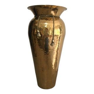 Vintage Hammered Brass Rope and Tassel Vase For Sale