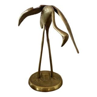 Vintage Brass Egret Crane Bird Figurine For Sale
