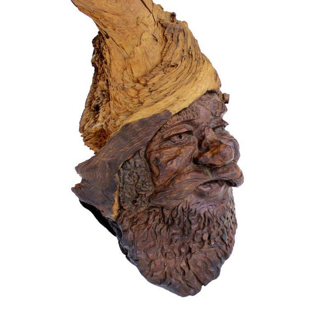 Detailed Burl Wood Carving of an Elf or Gnome Face Sculture - Image 4 of 9