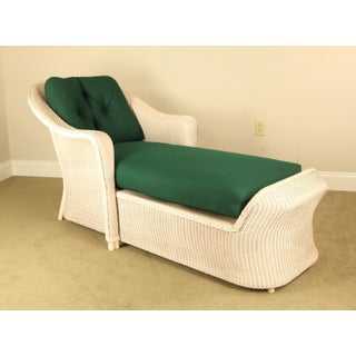 LLoyd Flanders Reflection White Loom Wicker Patio Porch Chaise Lounge Preview