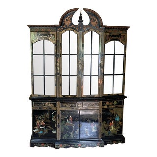 Antique Chinoiserie Black Lacquer China Cabinet For Sale