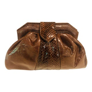 1980s Susan Gail Brown Python and Karung Clutch For Sale
