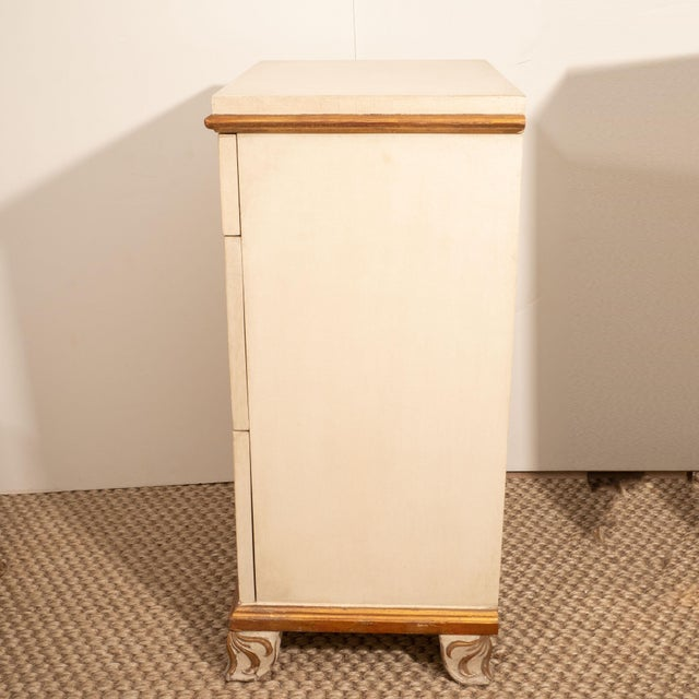 Tan Directoire Style Painted Bedside Tables - A Pair For Sale - Image 8 of 9
