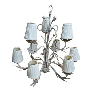 Boho Shabby Chic Floral 9 Light Chandelier For Sale