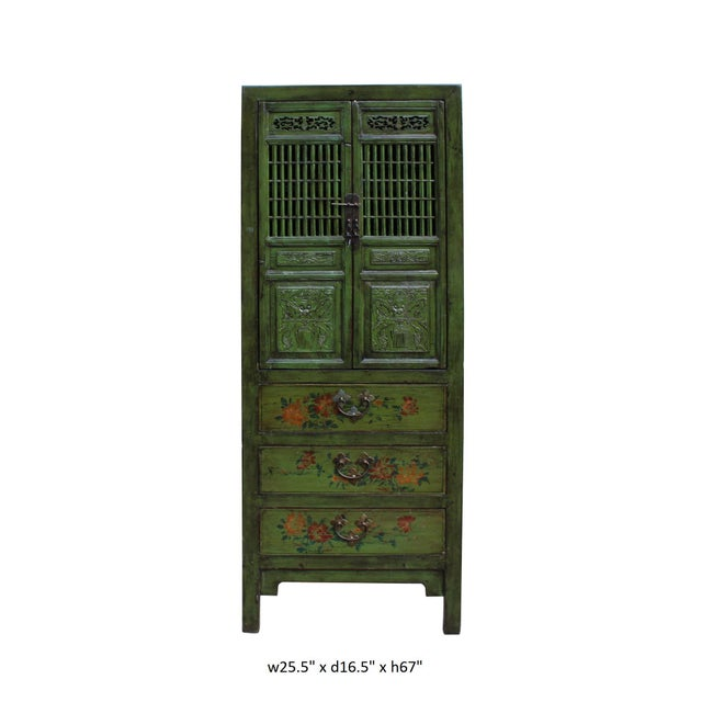 Chinese Distressed Green Narrow Wood Carving Storage Cabinet - Image 6 of 7