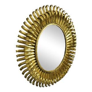 "Vtg Italian Hollywood Regency Gold Gilt Iron Metal 24"" Oval Sunburst Wall Mirror For Sale"
