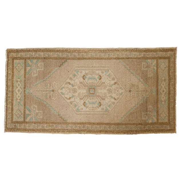 "Vintage Distressed Oushak Rug Mat Runner - 1'9"" X3'6"" For Sale"