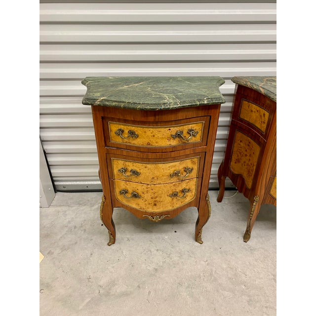 French Vintage French Marble Top Nightstands - a Pair For Sale - Image 3 of 12