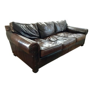 Restoration Hardware Italian Leather Brown Couch For Sale