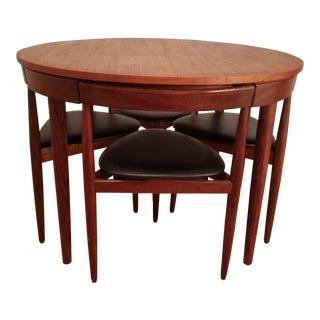 1950s Mid Century Modern Hans Olsen for Frem Rojle Teak Roundette Dining Set - 5 Pieces For Sale