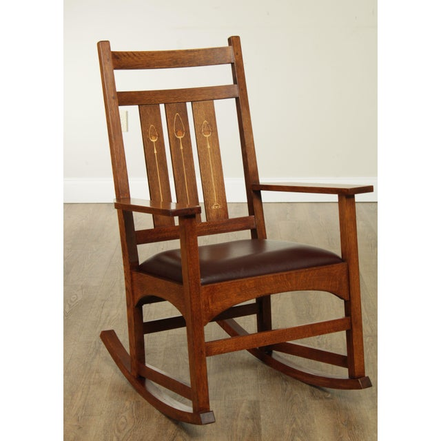 High Quality American Made Solid Oak Mission Style Rocking Chair with Inlaid Back and Leather Seat Store Item#: 26261