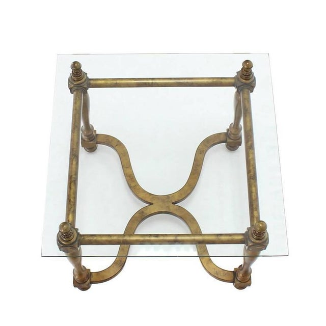 Brass Figural Base Glass Top Side End Table For Sale - Image 7 of 7