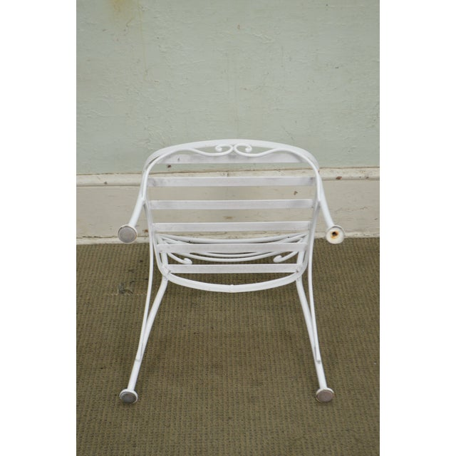 Woodard Set of 4 White Painted Scrolled Iron Patio Dining Chairs For Sale - Image 9 of 10