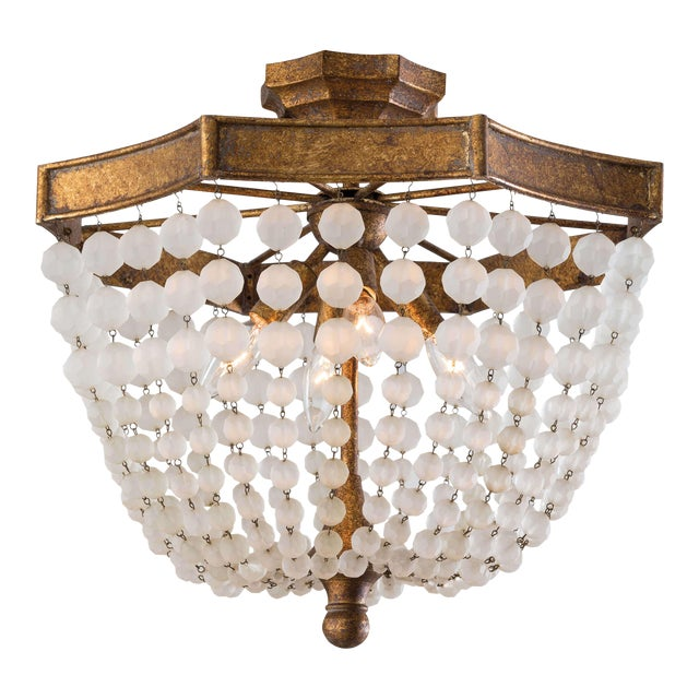 Frosted Crystal Bead Semi Flush Mount For Sale