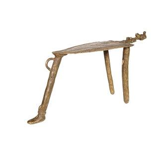 Senufo Style Lost Wax Cast Bronze Stool For Sale