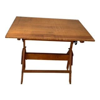 Early 20th Century Industrial Oak and Maple Adjustable Drafting Table For Sale