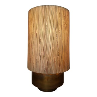 Modern Brass Table Lamp with Custom Grasscloth Shade For Sale