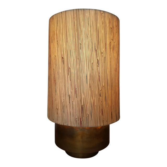 Modern Brass Table Lamp with Custom Grasscloth Shade - Image 1 of 10