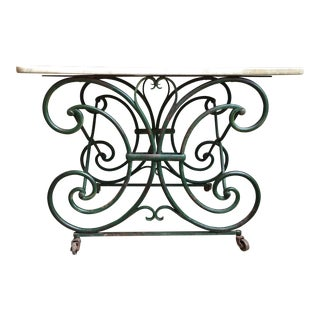 19th Century French Marble Pastry Baker's Table Art Nouveau Green Pâtisserie For Sale