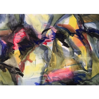 """""""Primary Encounter"""" Abstract Watercolor Painting For Sale"""