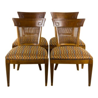 1960s Scandinavian Modern Style Caning and Oak Dining Chairs - Set of 4 For Sale