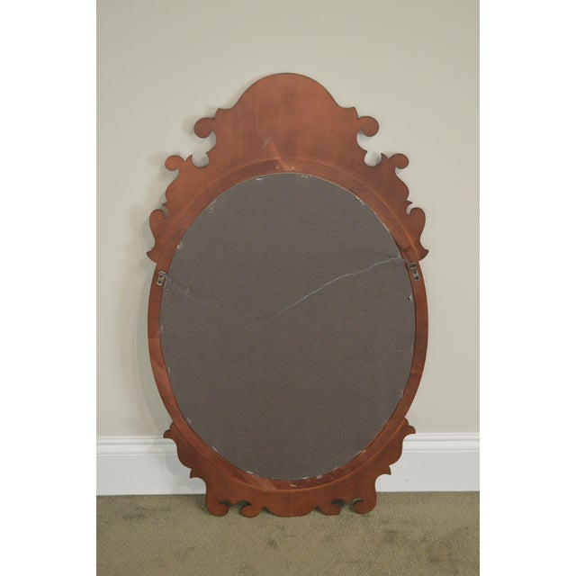 Victorian Style Cherry Oval Beveled Wall Mirror For Sale - Image 11 of 12
