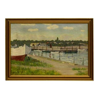 1940s Vintage Boats at Harbor Dock Framed Oil Painting For Sale