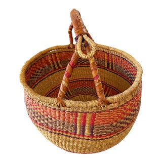 "African Bolga Ghana Market Basket 16""-16"" For Sale"