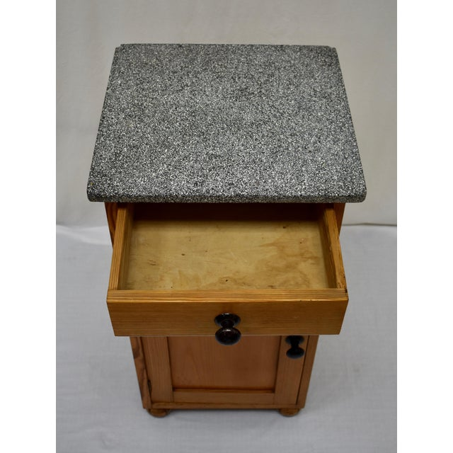 Pine Marble Top Nightstand For Sale - Image 11 of 13