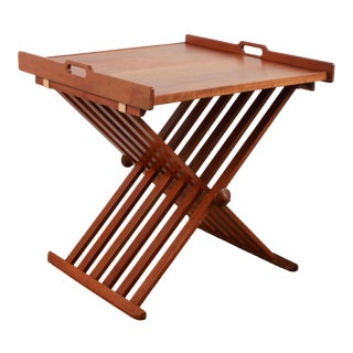 Mid Century Modern Drexel X Base Folding Tray Top Side Table For Sale