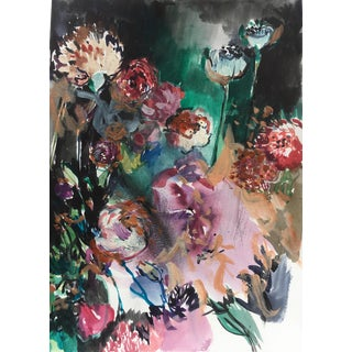 Contemporary Wildflower Garden Painting on Paper by Jenny Vorwaller