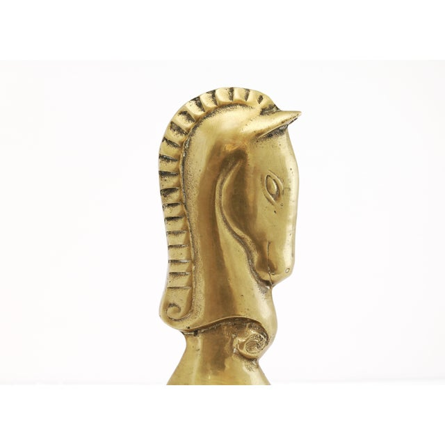 Hollywood Regency Brass Knight Horse Head Bookends - a Pair For Sale - Image 3 of 8