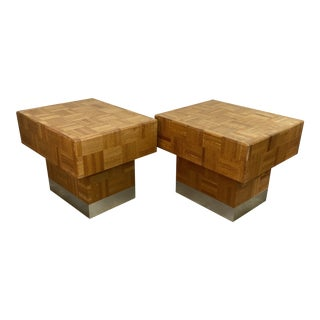 70s Parquet End Tables- a Pair For Sale