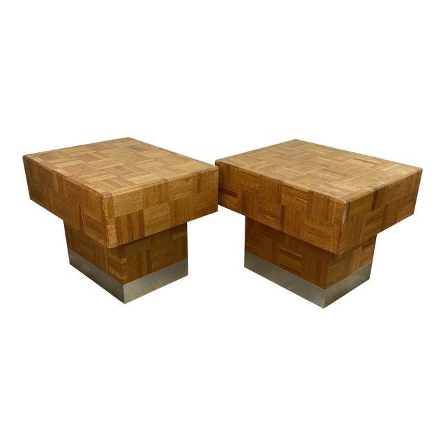 70s Parquet End Tables- a Pair For Sale