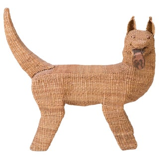 Mario Lopez Torres Woven Reed and Copper Dog For Sale