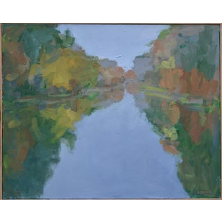 """Overcast Autumn Day at the Pond"" Contemporary Landscape Painting by Stephen Remick For Sale"