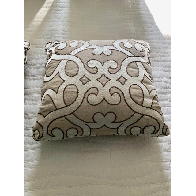 """Scalamandre Scalamandre Damascus Embroidery Square 18"""" Pillows (3 Available) For Sale - Image 4 of 13"""