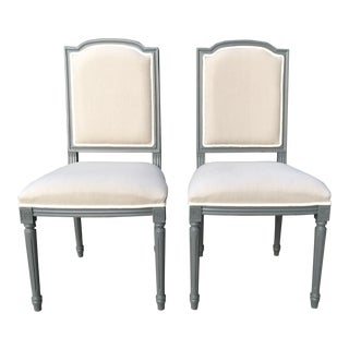 Sarried Ltd Louis XVI Gray Squared Side Chairs - A Pair For Sale