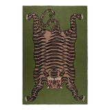 Image of Green Cashmere Tiger Blanket - King For Sale