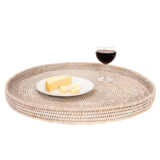 """Boho Chic Artifacts Rattan Round Tray 22"""" Diameter For Sale - Image 3 of 4"""