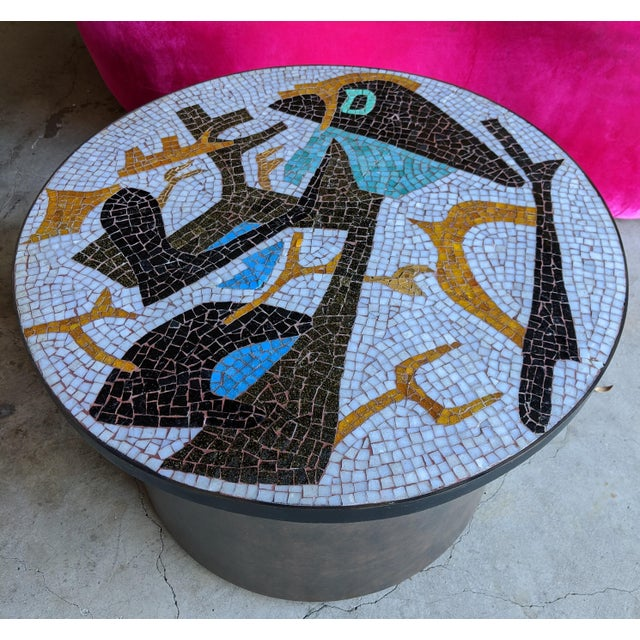 Absolutely incredible mosaic Midcentury Modern composition, wrapped into an iron circular framework and used as shown as a...