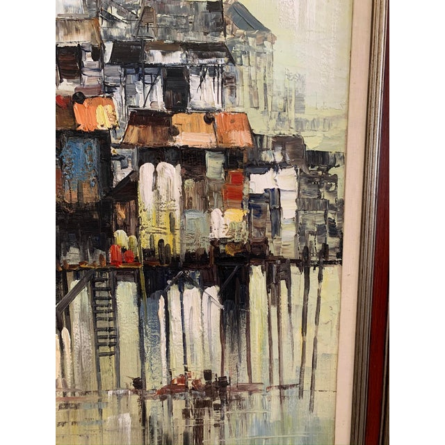 """1966 """"Houses on Stilts"""" Oil Painting For Sale In Los Angeles - Image 6 of 9"""