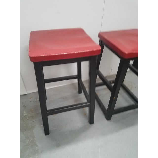 Two Vintage English Wooden Stools With Red Tops For Sale - Image 12 of 13