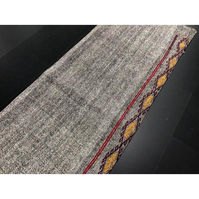 Textile Vintage Turkish Handwoven Aztec Corridor Kilim Rug - 2′3″ × 7′3″ For Sale - Image 7 of 11