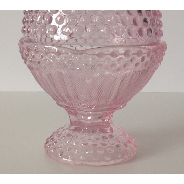 Pink Dome-Lidded Hobnail Candy Dish - Image 3 of 8