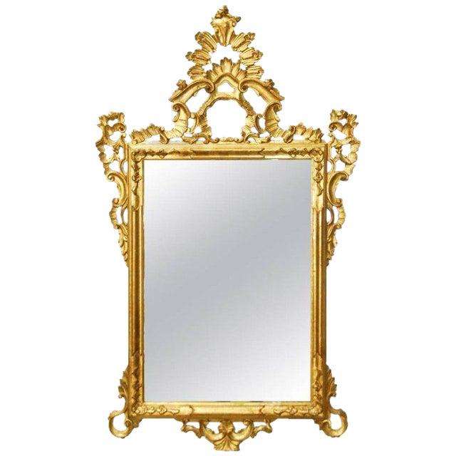19th Century Italian Rococo Style Giltwood Mirror For Sale